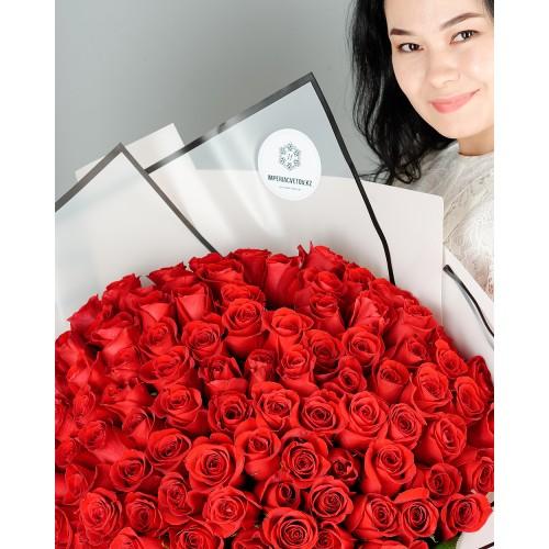 Купить на заказ Букет из 101 красной розы с доставкой в Атбасаре