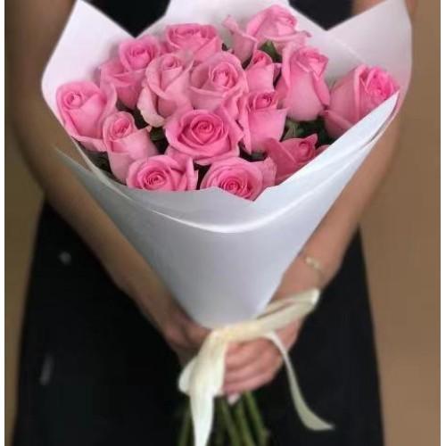Купить на заказ 15 розовых роз с доставкой в Атбасаре